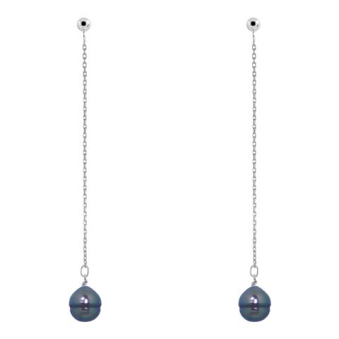 Ateliers Saint Germain Silver Pearl Hanging Earrings 10-11mm