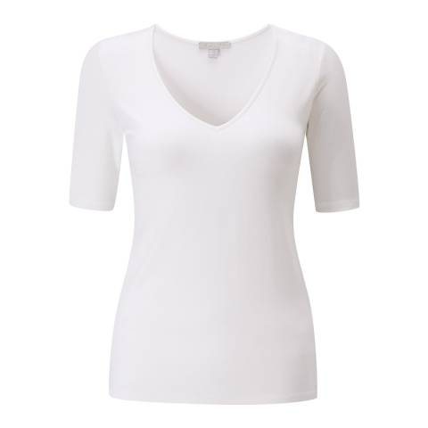 Pure Collection White Jersey V Neck T-shirt