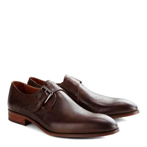 DenBroeck Brown Leather Liberty St. Monkstrap Shoes