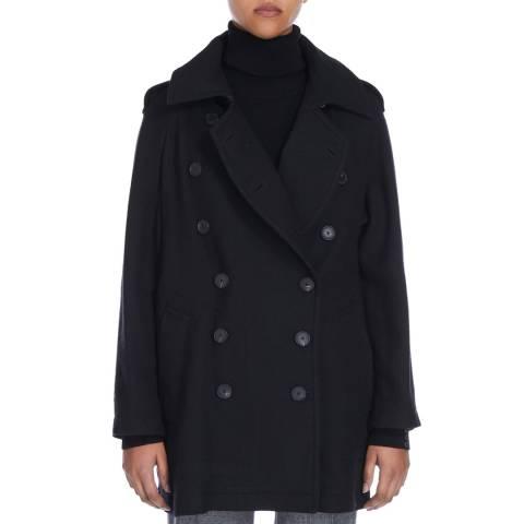 Nicole Farhi Black Wool Blend Pea Coat