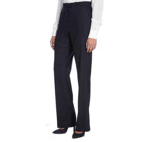 Nicole Farhi Navy Wool Cashmere Stretch Sailor Trousers