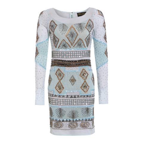 HONOR GOLD Blue Piper Mini Dress
