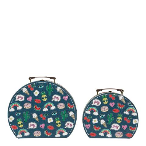 Sass & Belle Set Of 2 Patches & Pins Suitcases