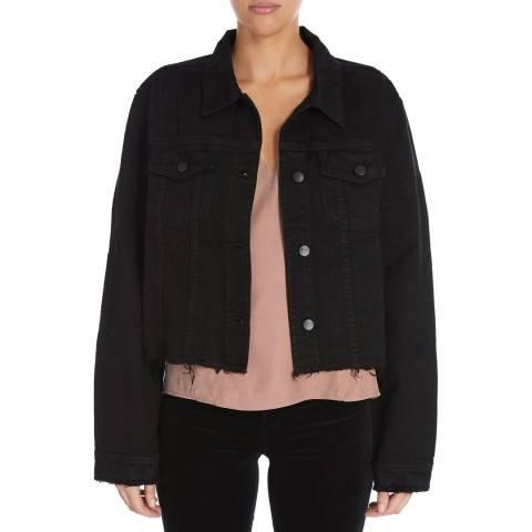 J Brand Black Frayed Cyra Denim Jacket