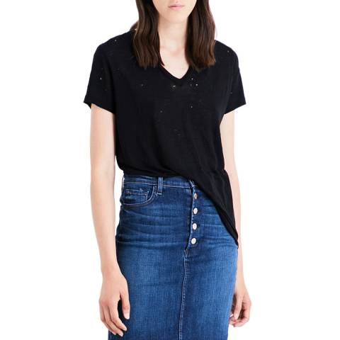 J Brand Black Distressed Janis V Neck Tee