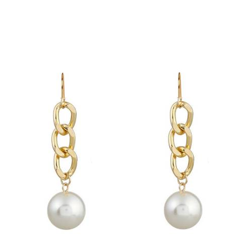 Chloe Collection by Liv Oliver Gold Link Drop Pearl Earrings