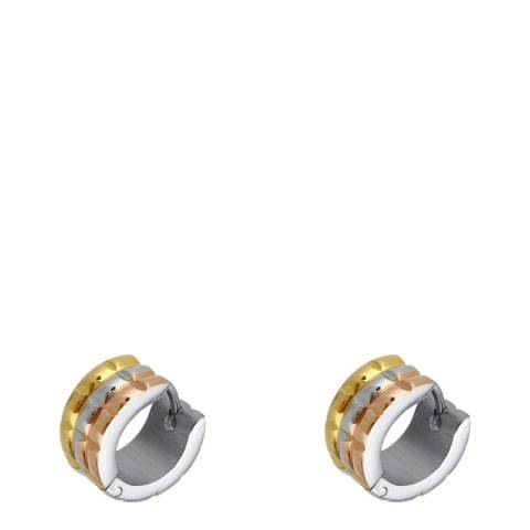 Chloe Collection by Liv Oliver Tri-Colour Huggie Hoop Earrings