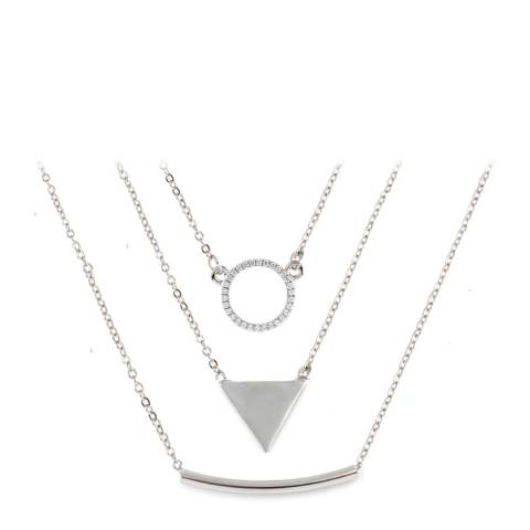 Chloe Collection by Liv Oliver Silver Multi Geometric Layered Necklace