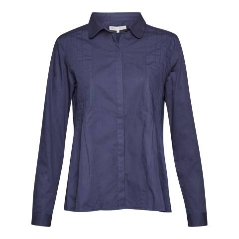 Great Plains Classic Navy Simone Pleated L/Sleeve Shirt