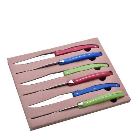 Laguiole Set of 6 Knives with Coloured Wooden Handle