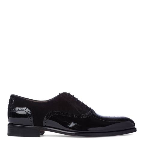 Oliver Sweeney Black Leather and Suede Tondela Brogue Oxford Shoes