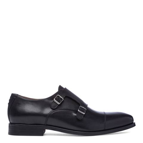 Oliver Sweeney Black Leather Milfontes Double Buckle Monk Shoes