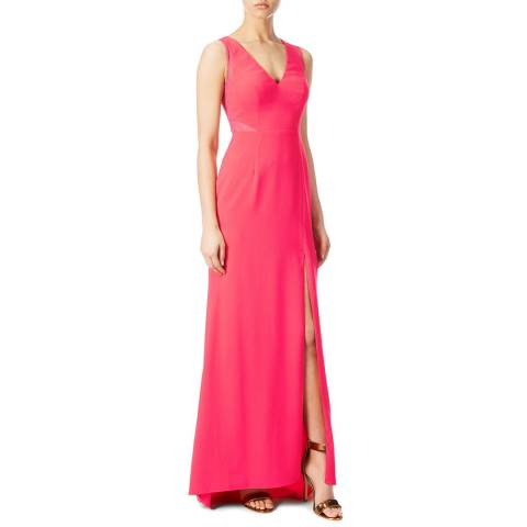 Aidan Mattox Pink Tangerine Crepe And Lace Gown