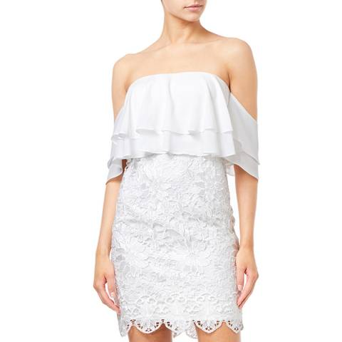 Aidan Mattox Ivory Popover Lace Cocktail Dress