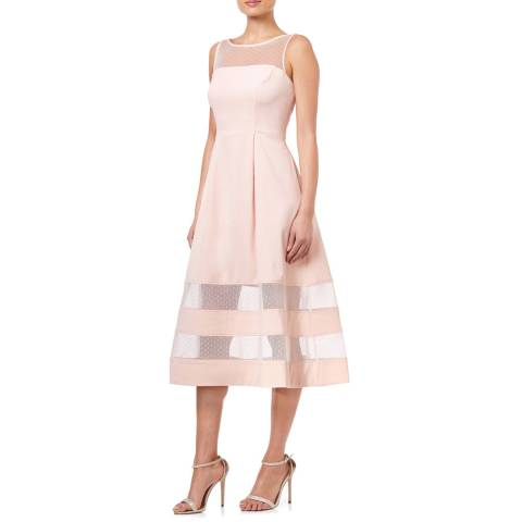 Aidan Mattox Blush Crepe And Point Desprit Dress