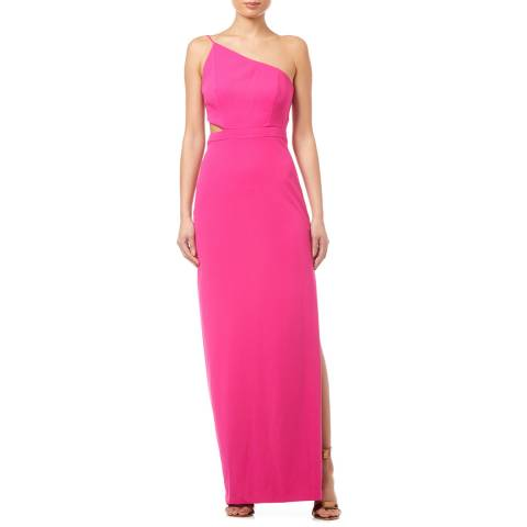 Aidan Mattox Bright Pink One Shoulder Column Gown