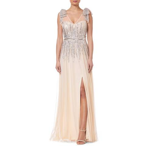 Aidan Mattox Champagne Beaded Dress