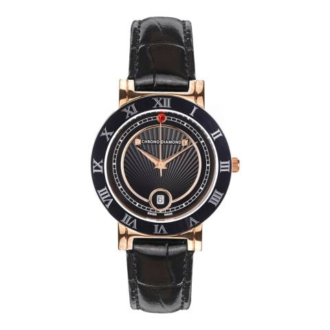 Chrono Diamond Women's Rose Gold / Black Stainless Steel/Leather Swiss Made Watch 36mm