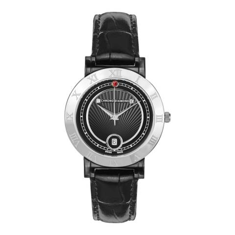 Chrono Diamond Women's Black Stainless Steel / Leather Swiss Made Watch 36mm