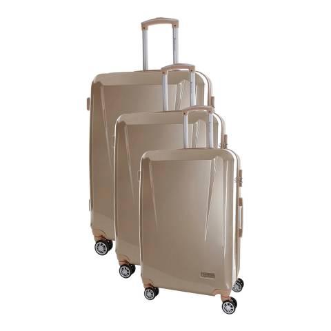 Platinium Beige Marshall 8 Wheeled Set Of Three Suitcases 50/60/70cm