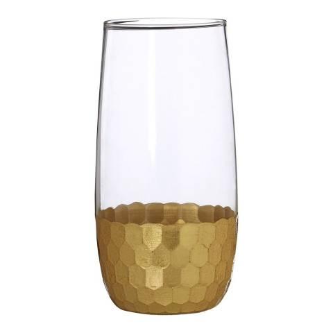 Premier Housewares Set of 2 Gold Astrid High Ball Glasses, 480ml