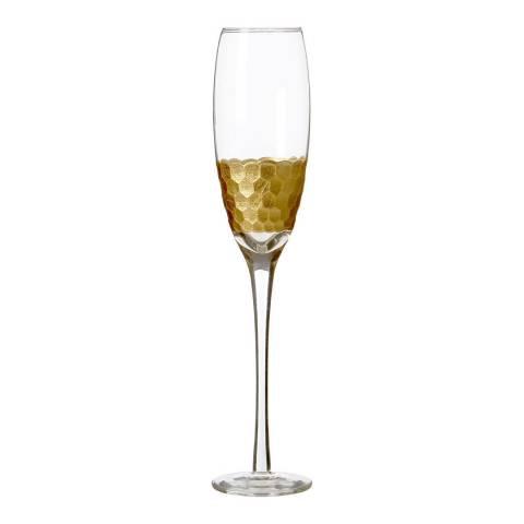 Premier Housewares Set of 4 Gold Astrid Champagne Glasses,  210ml