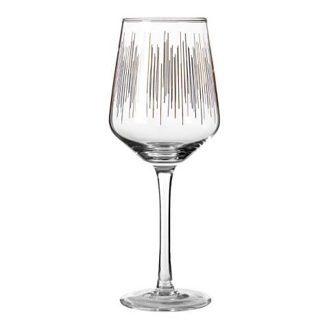 Premier Housewares Set of 4 Gold Deco Wine Glasses, 430ml