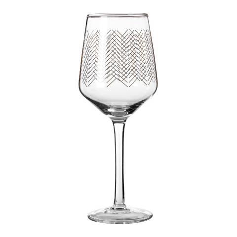 Premier Housewares Set of 4 Gold Jazz Wine Glasses, 430ml