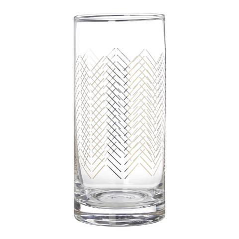 Premier Housewares Set of 4 Gold Jazz Hi Ball Glasses, 475ml