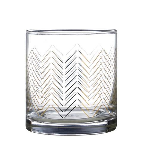 Premier Housewares Set of 4 Gold Jazz Tumbler Glasses, 375ml