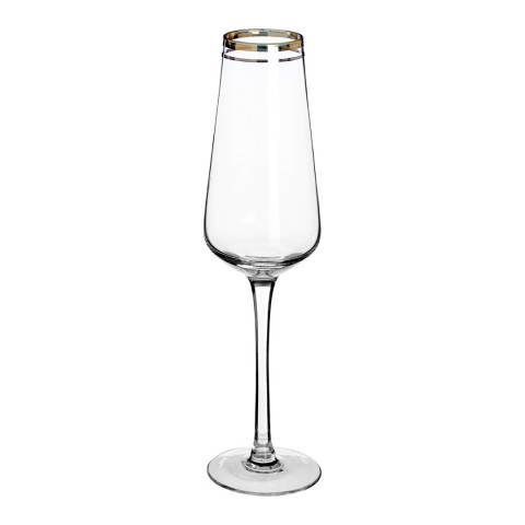 Premier Housewares Set of 4 Gold Charleston Champagne Glasses