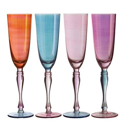 Premier Housewares Set of 4 Aurora Champagne Glasses,  273ml