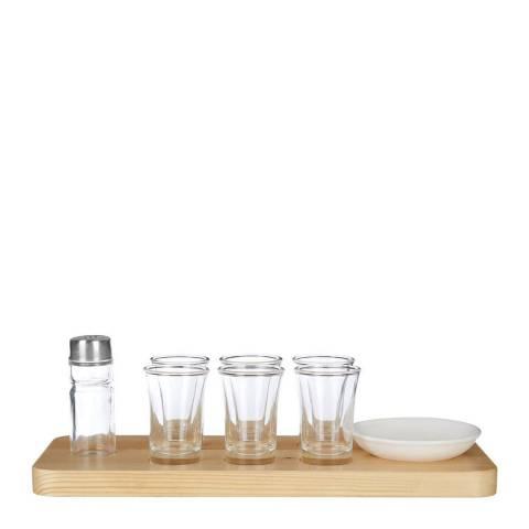 Premier Housewares Tequila Shot Glass Set, Wooden Tray, Six Shot Glasses