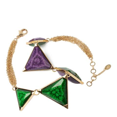 Amrita Singh Two-Tone Reversible Triangle Necklace With Resin Stones.