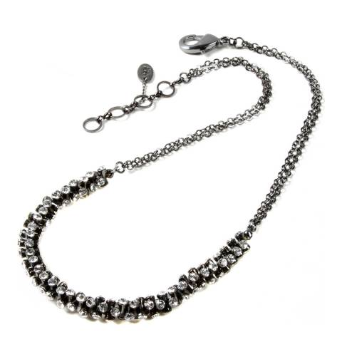 Amrita Singh Gunmetal Brass Necklace With Austrian Crystals