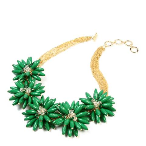 Amrita Singh Gold-Tone Brass Floral Necklace With Resin Stones.