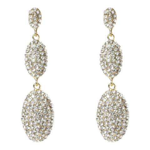 Amrita Singh Gold-Tone Brass Three Tier Oval Earrings With Austrian Crystals