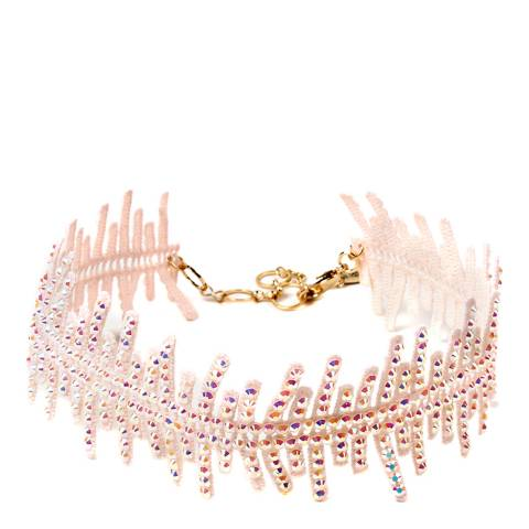 Amrita Singh Lace Choker Embellished With Faceted Glass Beads With A Gold-Tone Brass Lobster Closure