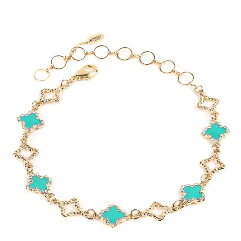 Amrita Singh Turquoise/Gold Clover Choker Necklace
