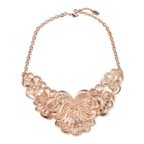 Amrita Singh Rose-Tone Brass Bib Necklace With Filigree Details