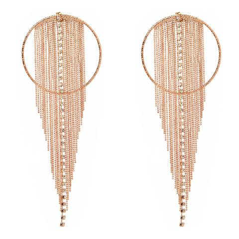 Amrita Singh Large Rose Gold-Tone Brass Circular Earrings With Fringe Detail And Austrian Crystals
