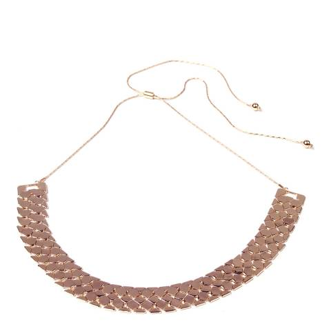 Amrita Singh Simple Metallic Brass Collar With Scale-Weave Deisgn