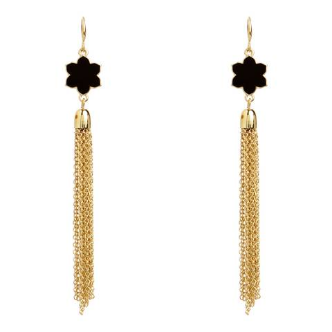 Amrita Singh Gold-Tone Brass Tassel Earrings With Enamel Detailing.