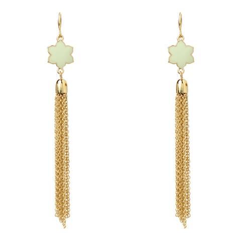 Amrita Singh Gold-Tone Brass Tassel Earrings With Enamel Detailing.
