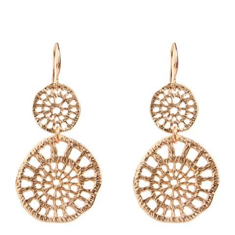 Amrita Singh Rose-Tone Brass Earrings With Filigree Design