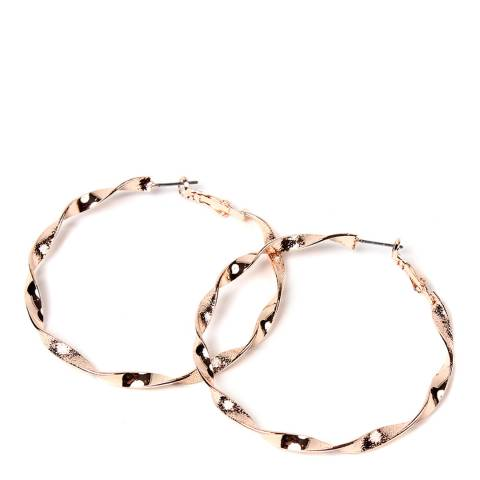 Amrita Singh Rose Gold-Tone Brass Hoops With Twisted Detailing.