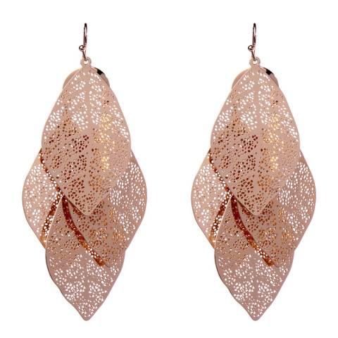 Amrita Singh Rose Gold- Tone Brass Earrings With Filigree Leaf Details.