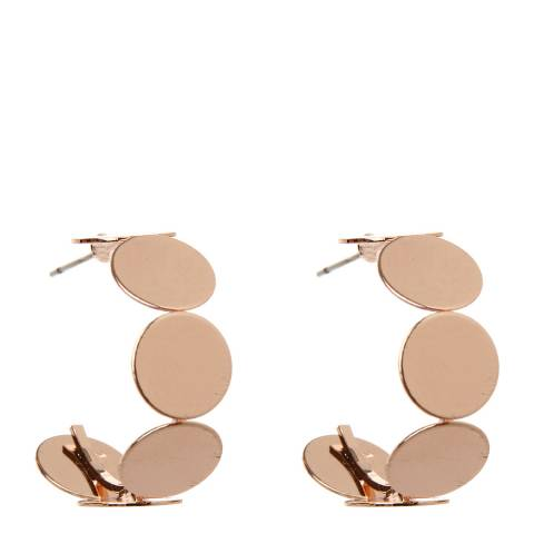 Amrita Singh Rose-Tone Brass Hoops With Circle Motif