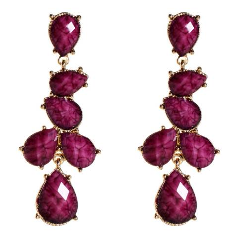 Amrita Singh Gold-Tone Brass Earrings With Multi Teardrop Shape Resin Stones.
