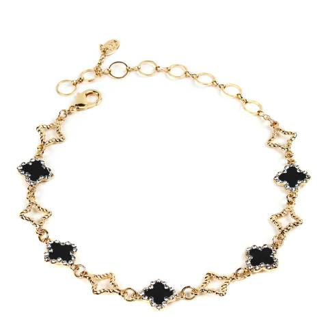 Amrita Singh Gold-Tone Brass Enamel Clover Choker Necklace With Austrian Crystals